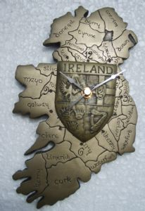 Map of Ireland Wall Clock with provincial crest, irish gifts.